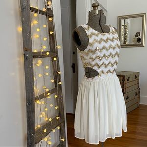 Forever 21 gold and white sequin mini dress